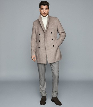 Reiss Duomo - Herringbone Double Breasted Peacoat in Oatmeal