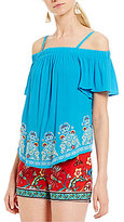 I.N. San Francisco Off-The-Shoulder Embroidered Hem Top
