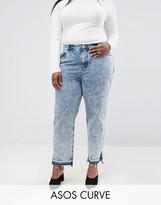 Asos ORIGINAL MOM Jeans in Adelaide Acid Wash with Side Split Hems