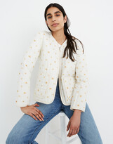 Madewell Cotton Quilted Zip-Up Liner Jacket in French Daisies