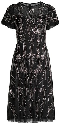 Aidan Mattox Beaded Short-Sleeve Fit & Flare Dress