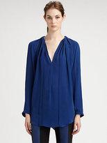Halston Pleated Silk Blouse
