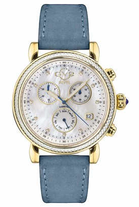 Gv2 GV2 by Gevril Women's Marsala Chrono Stainless Steel Swiss Quartz Watch with Leather Calfskin Strap Blue 18 (Model: 9845.S5)