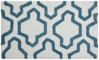Saffron Fabs Anti-Skid Machine Washable Cotton Geometric Bath Rug, White/Arctic Blu