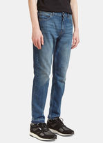 Stella Mccartney Men's Contrast Stitched Seam Slim Leg Jeans In Blue
