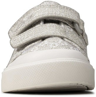 Clarks Toddler City Bright Canvas Shoe - Silver
