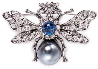 Kenneth Jay Lane Glass pearl crystal insect brooch