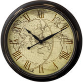 """Infinity Instruments Distressed Map"""" Wall Clock, 24"""""""