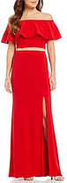 Xscape Evenings Two Piece Ruffled Off-the-Shoulder Short Sleeve Gown