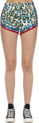 R 13 Leopard Print Stretch Cotton Gym Shorts