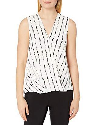 Vince Camuto Women's Sleeveless Stripe Impressions Wrap Front Blouse