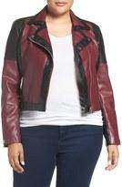Tart 'Justine' Colorbock Faux Leather Jacket (Plus Size)
