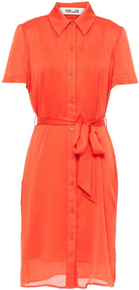 Diane von Furstenberg Kadina Belted Crepon Shirt Dress
