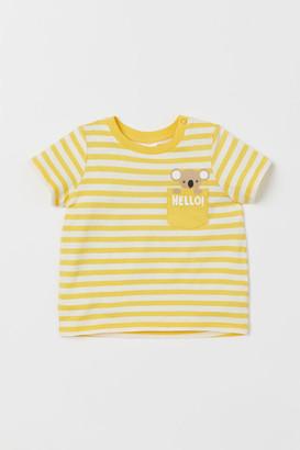 H&M Pocket-detail T-shirt - Yellow