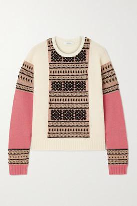Max Mara Liana Fair Isle Wool And Cashmere-blend Sweater - Ivory