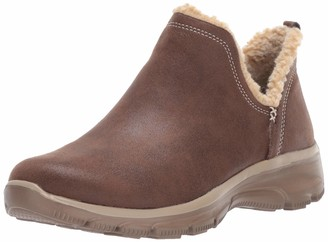 Skechers Womens Easy Going - Buried Scooped Collar Bootie with Faux Fur Trim Ankle Boot