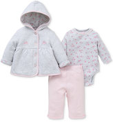 Little Me Baby Girls' 3-Pc. Quilted Hoodie, Bodysuit & Leggings Set