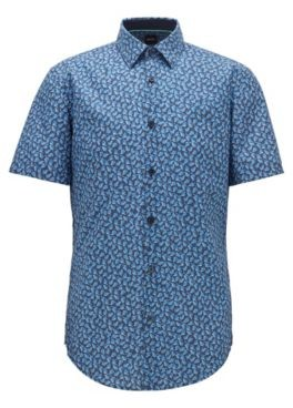 HUGO BOSS Slim Fit Shirt In Leaf Print Cotton And Linen - Dark Blue