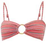 Belize - Hailey Striped-seersucker Bikini Top - Womens - Red Stripe