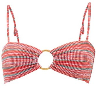 Belize - Hailey Striped-seersucker Bikini Top - Red Stripe
