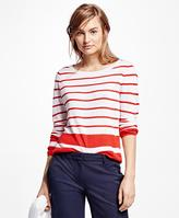 Brooks Brothers Linen Stripe Crewneck Sweater