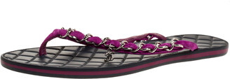 Chanel Purple Suede Chain Link Thong Sandals Size 40.5