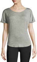 Beyond Yoga Out of Slink Cowl-Back Dolman Athletic Tee, Medium Gray