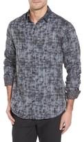 Stone Rose Men's Slim Fit Twill Fx Print Sport Shirt