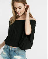 Express smocked off the shoulder bell sleeve tee