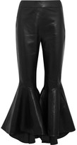 Ellery Sinuous Cropped Leather Flared Pants - Black