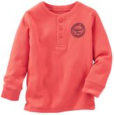 Osh Kosh Boys 4-8 Chest Graphic Solid Thermal Henley Tee