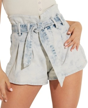 GUESS Acid Wash Belted Bustier Shorts