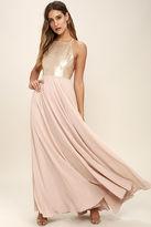 LuLu*s Cotillion Matte Gold Sequin Dress