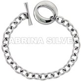 """Sabrina Silver Stainless Steel Cable Chain Bracelet for Men Large """"O"""" Toggle Clasp 7/8 inch wide, 8.25 inch ling"""