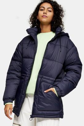 Topshop Navy Tie Padded Puffer Jacket