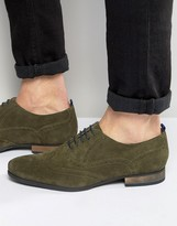 Asos Brogue Shoes in Khaki Suede With Contrast Sole