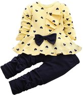 LaLaMa Kids Girls Heart Outfit Bow Pajama Sleepwear Set Cotton Top Pants Leggings