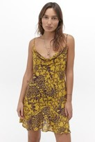 Free People Forever Field Printed Mini Dress - gold M at Urban Outfitters