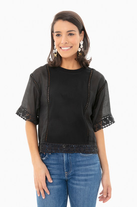 See by Chloe Black Cotton Lace Short Sleeve Top