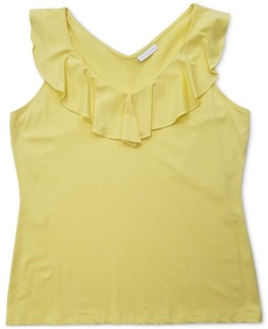 Charter Club Ruffle-Trim Tank Top, Created for Macy's