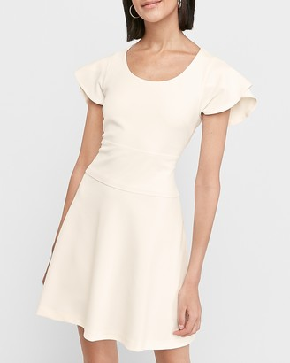 Express Flutter Sleeve Fit And Flare Dress