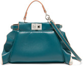 Fendi Peekaboo Micro Ruffle-trimmed Leather Shoulder Bag - Petrol