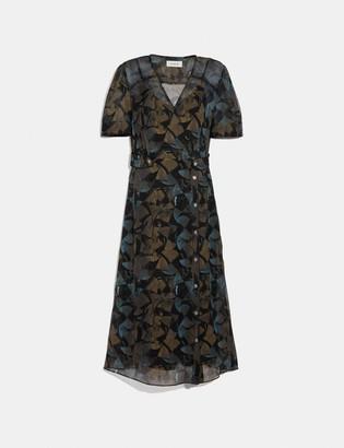Coach Printed Long Chiffon V-Neck Dress