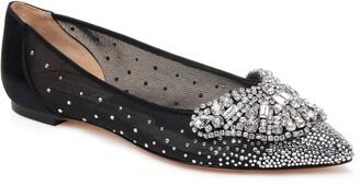 Badgley Mischka Quinn Embellished Pointed Toe Flat