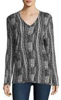 Neiman Marcus V-Neck Vertical Arrow-Print Superfine Cashmere Tunic