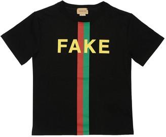 Gucci Fake Print Cotton Jersey T-Shirt