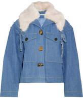 Rejina Pyo - Daphne Faux Fur-trimmed Denim Jacket - Light denim