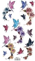 King Horse Flowers and Butterflies Body Art Temporary Tattoo Sticker