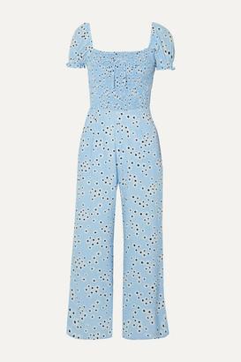 Faithfull The Brand Della Shirred Floral-print Crepe Jumpsuit - Light blue
