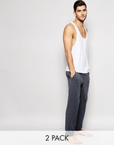 Asos Loungewear Muscle Vest And Tapered Lounge Bottoms 2 Pack
